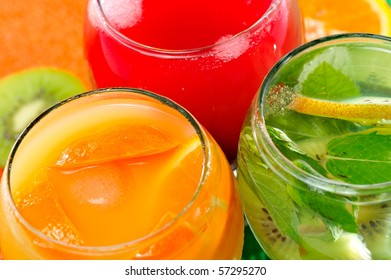 various natural fresh juice and fruits