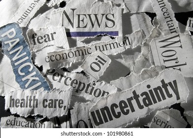 various newspaper headlines showing economic concepts