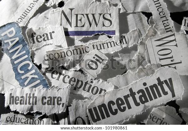 divers titres de journaux montrant des concepts économiques