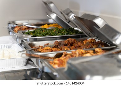 Various Nigerian Dishes on Buffet at party