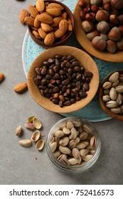 Various Nuts above, food closeup
