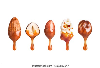 Various nuts with caramel drops