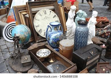 Various objects on a flea market (Braderie de Lille - France)