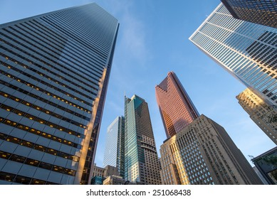 Various office buildings in the downtown financial district in Toronto Ontario Canada.