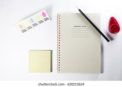 Various office items isolated on white background