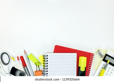various office stationary and supplies on white background. flat lay, top view