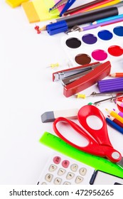 Various office supplies on a white background. Back to school. Space for text