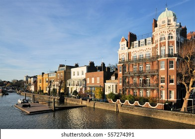 Various old architectural housing styles at Lower Mall on the north bank of the River Thames at Hammersmith, west London, UK.