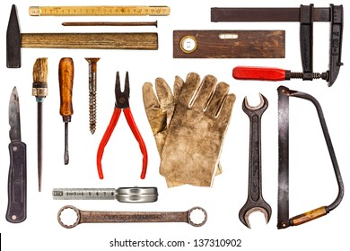 Various old craftsman tools isolated on white background