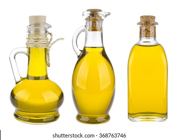 Various olive oil bottles isolated on white background