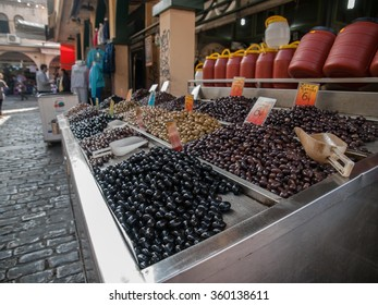Various olives at the outdoor market in Thessaloniki, Greece, Europe.