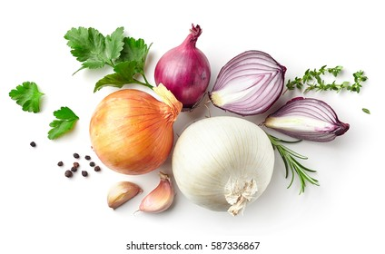 various onions and spices isolated on white background, top view