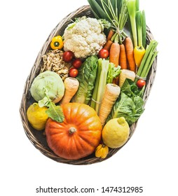 Various organic vegetables and ingredients in tray, isolated on white background. Low carb veggies. Clean organic farm vegetables. Healthy food. Local market products. Harvested vegetables. Pumpkin