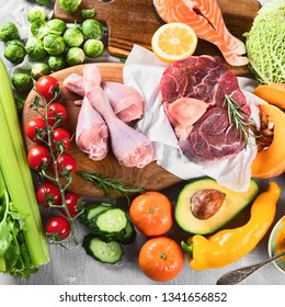 Various Paleo diet products. Top view