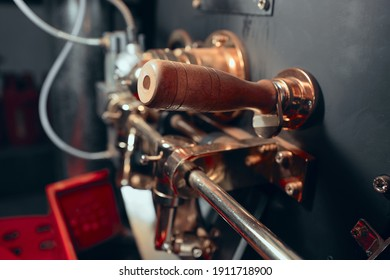Various parts of a coffee roasting machine. Close up view.