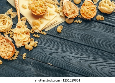 Various pasta on spoons