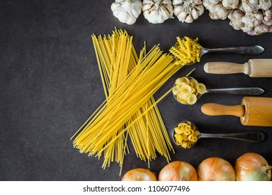 Various pasta spoons. Cooking concept. Top view with space for your recipe
