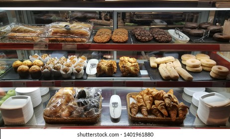 Various pastries in a display case
