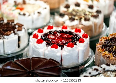various pieces of cake sell in bekery shop