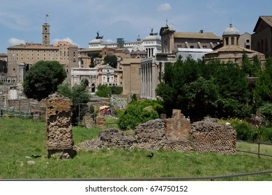 Various pillars and structures within the Roman Forum