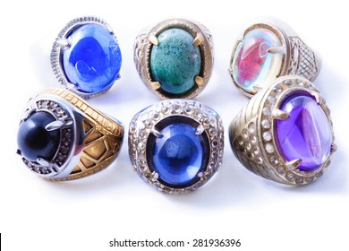 Various Popular Gemstone from Indonesia isolated in white