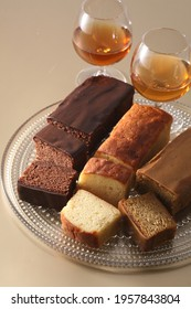 Various pound cakes with fresh butter and eggs