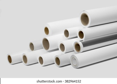 various print media rolls for wide-format printers in light grey back