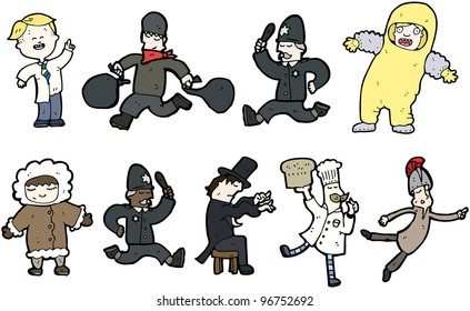 various professions cartoon collection