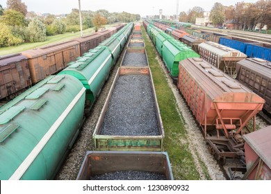 various railway wagons from the above with coal wagons in the middle