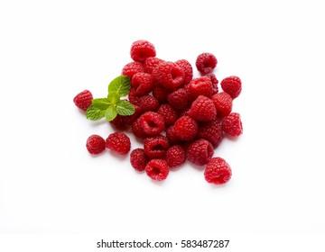 Various raspberries on white background