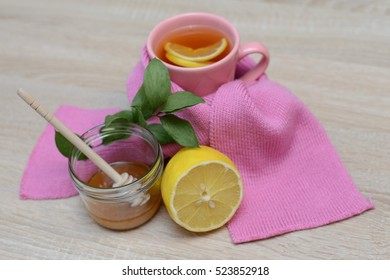 Various remedies for cold on a wooden background