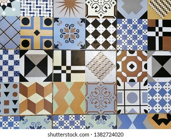 Various Retro Tiles in Modern Cafe, Decorative Texture Background