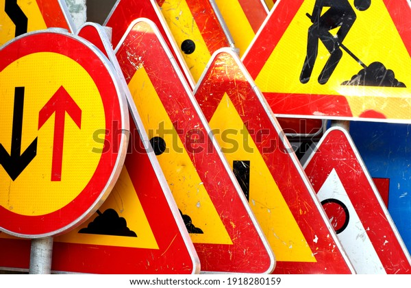 Various road and traffic signs
