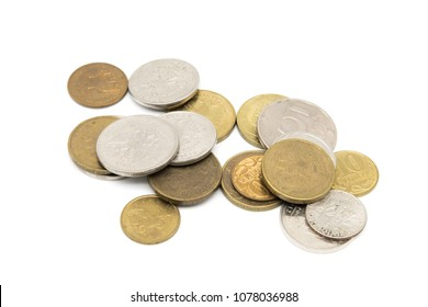 Various Russian Ruble coins isolated on white background