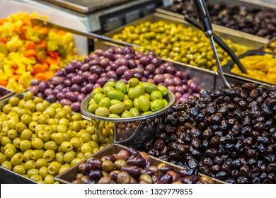 Various salted olives on the Mahane Yehuda Market in Jerusalem.