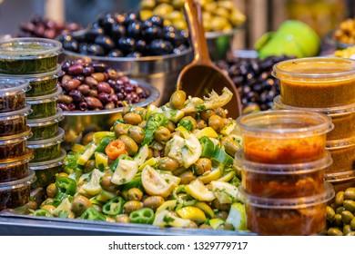 Various salted pickles on the Mahane Yehuda Market in Jerusalem.