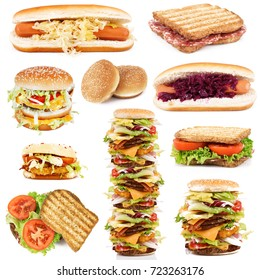 various sandwich collection on white background