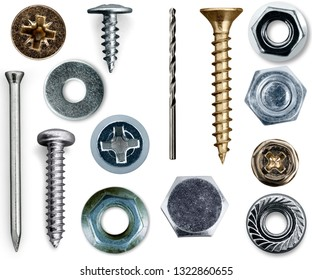 Various Screws and nuts, flat lay, top view, isolated on white background