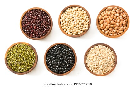 various seeds, beans and grains isolated on white background