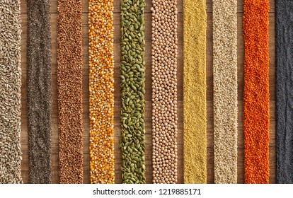 Various seeds and grains arranged in colorful stripes on the table - top view, diverse diet concept