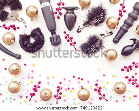 various sex toys golden christmas balls and small twigs with red berries new year - Christmas Sex Toys