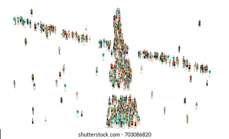Various shaped crowd of people. Cartoon humans on white background.
