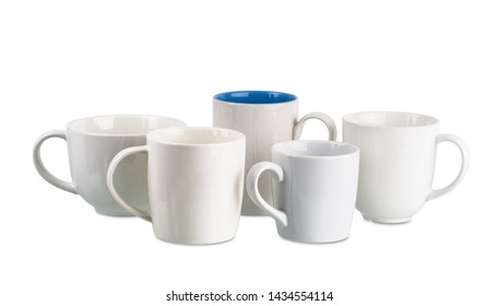 Various shapes White coffee cup isolated isolated on white background with clipping path