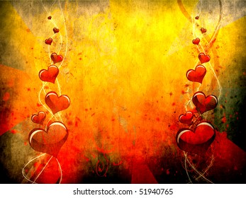 Various size heart shapes on grunge background