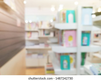 Various sizes book on shelves in the book store, concept blurred background, learning and education, concept blurred background.