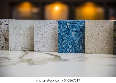 Various sizes and colors of kitchen counter  tops made of natural stone granite, marble and quartz