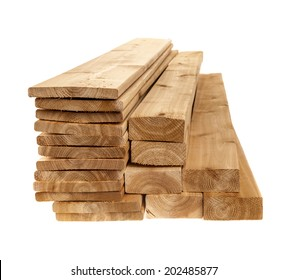Various sizes of wooden cedar boards isolated on white background