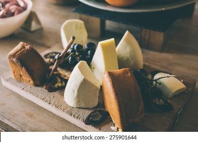 Various sorts of georgian cheese. Toned image