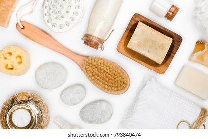 Various spa and body care products isolated on white background