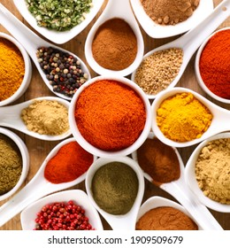 various spices background- top view